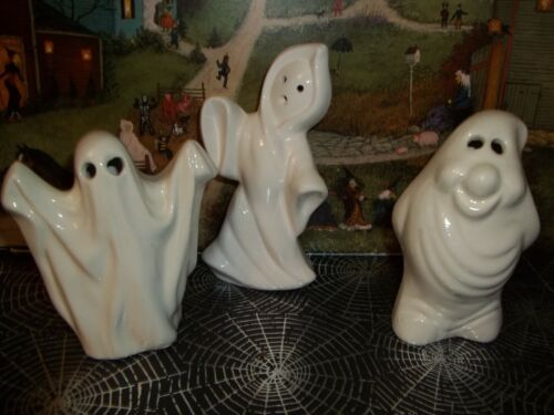 3 PIECE LOT OF VTG CERAMIC Halloween GHOSTS  GREAT FOR HAUNTED HOUSE DISPLAYS