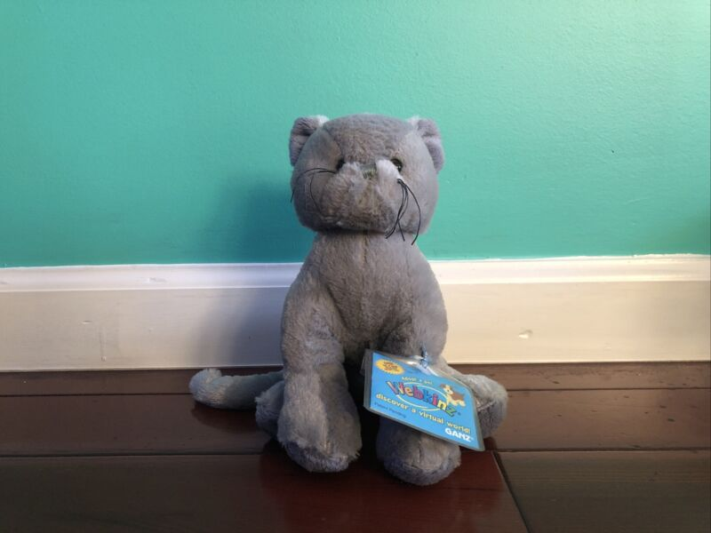 Webkinz Gray Cat Charcoal Cat Plush with New Unused Sealed Code/Tag