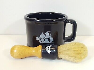 Old Spice Shaving Mug Cup Vintage Dark Blue Black 1985 Ceramic Ship Logo & brush