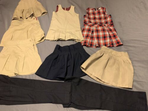 (9) piece Lot Of  Girls' Uniform Bottoms And Dresses Navy Khaki Size 4-6X
