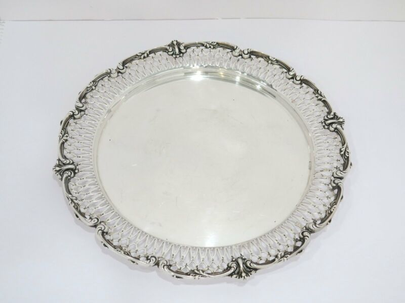 12.25 in - Sterling Silver Loring Andrews Co. Antique Round Tray
