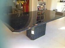 Black Granite dining table and 8 matching high back chairs. Hurstville Hurstville Area Preview