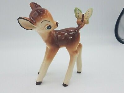 Vintage Disney Bambi with Butterfly Figure Figurine Porcelain Ceramic Japan 6""