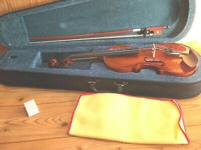 STUDENT VIOLIN 1/4 SIZE CASE & BOW+ ROSIN IDEAL STARTER INSTRUMENT SLIGHT SECOND