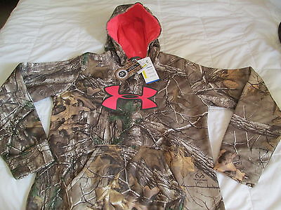 NEW Womens UNDER ARMOUR REAL TREE CAMO Hoodie w/ Pink BIG LOGO Md FREE SHIPPING!