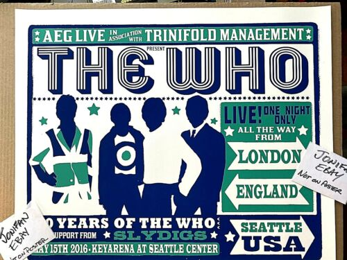 THE WHO Seattle WA 2016 Official AP Screen Print Poster Signed S/N #/300 InStock