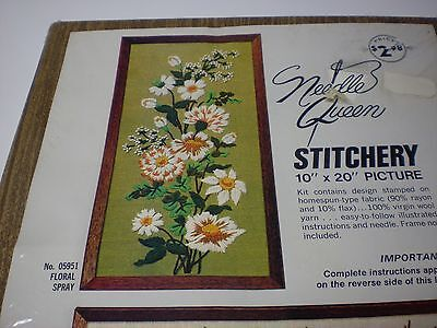 "Vintage Needle Queen Stitchery Floral Spray 10"" x 20"" Crewel Picture Kit - NIP"