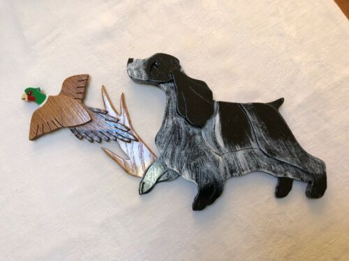 English Cocker Spaniel Dog Pheasant Wooden Plaque by Wooddoglady Handcrafted