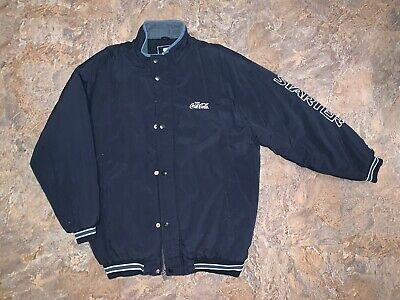 Vtg Starter Jacket Puffer Coca Cola Coke Rare Spell Out Lined Quilted Warm Xl