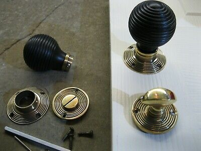 Pr of Victorian Edwardian Reproduction Ebonized Beehive Door Knobs & Roses RES7