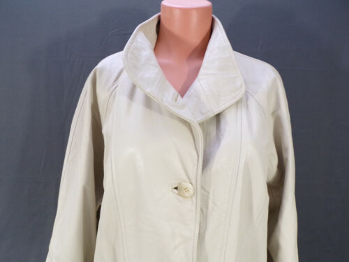 Vintage Leather Coat Womens Medium Quality LNR Cream Lined Collar USA Made EUC
