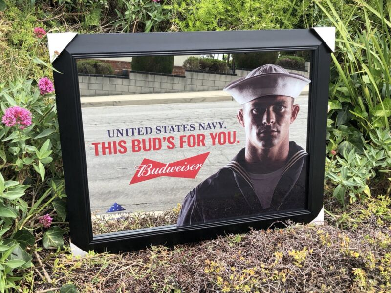 Budweiser U.S. Navy Armed Forces Military Beer Bar Mirror Man Cave Pub New