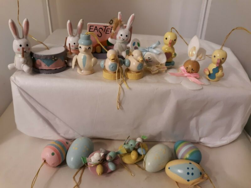 Vtg Miniature Bunny Rabbit Chicks Birds Eggs EASTER Wood Ornament Figures