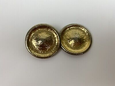 VTG Paolo Gucci Large Button Clip On Earrings Signed Costume Jewelry BROKEN