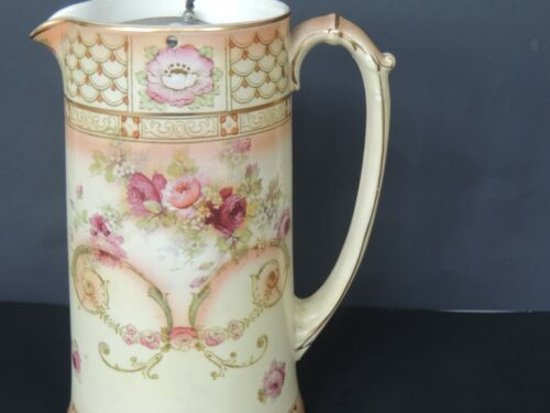 "Early Porcelain Germany victorian Pitcher Jug lid roses 7.5"" stunning"