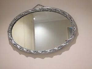 Silver oval shape big mirror Enfield Burwood Area Preview