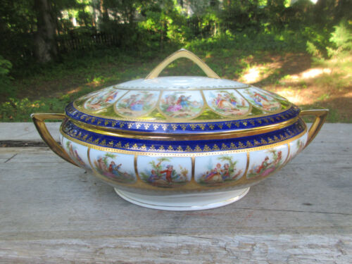 Magnificent Giant Antique PCV Vienna Porcelain Covered Serving Bowl Tureen 14""