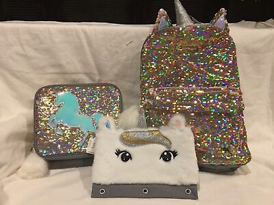 NWT Justice Girls Unicorn Flip Sequins Backpack Lunch Tote   Pencil Case 5efc4a2887d9d