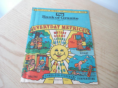 Vintage 1977 BANK OF GRANITE BG Games Puzzles EVERYDAY METRICS Great Graphics !