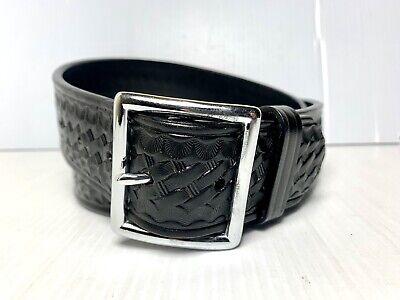 Dutyman Leather Belt Basketweave Police Duty 1621 Black Size 40