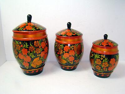 VINTAGE LOT of 3 RUSSIAN KHOKHLOMA WOODEN HAND PAINTED Pots Bowls Lids