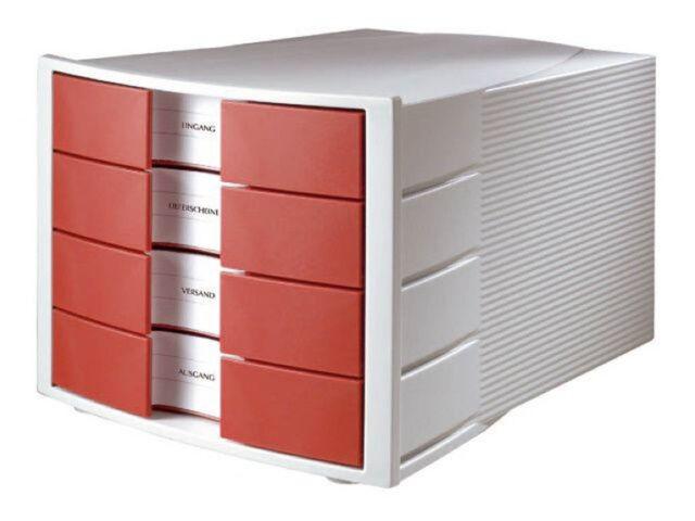 HAN Schubladenbox IMPULS - DIN A4/C4, 4 geschlossene Schubladen, lichtgrau-rot