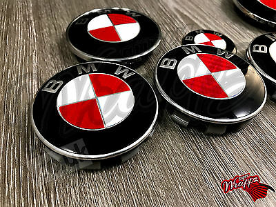 RED  WHITE CARBON FIBER Decal For BMW Badge Emblem HOOD TRUNK RIMS FITS ALL BMW
