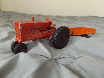 Vintage Diecast Red 5 inch Farm Tractor International Harvester Toy with Trailer for sale  Ogdensburg