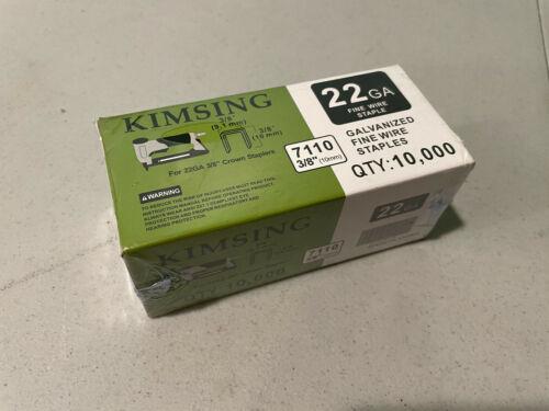 """Kimsing 22 Gauge 3/8"""" Galvanized Crown Fine Wire Staples, 10,000ct"""