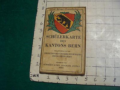 vintage Travel item: SCHULERKARTE des KANTONS BERN folding map, wear as shown