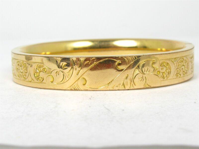Antique Victorian Gold Filled Floral Hinged Ladies Bangle Bracelet 24.1g B42