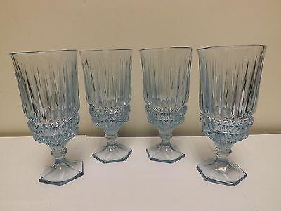 (4 FOSTORIA HERITAGE LIGHT BLUE STEMWARE WATER GOBLET GLASSES)