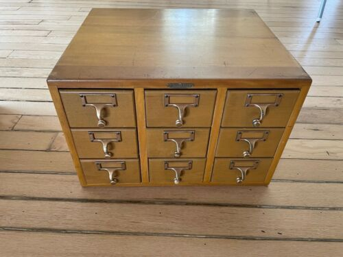 Vintage Remington Rand 9 Drawer Wood Wooden Library Card Catalog Cabinet!