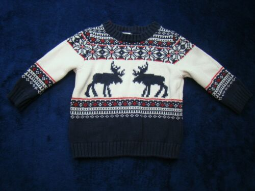 Janie and Jack Boys Moose Fair Isle Sweater Blue Red White Pullover Size 6-12 Mo