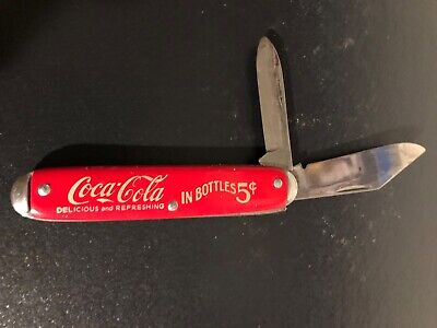 *Vintage COCA COLA IN BOTTLES 5 cents Delicious & Refreshing Pocket Knife