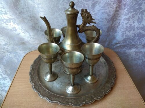 VINTAGE Old Nice SET glasses TRAY Metal silver plated beautiful Kettle dragon