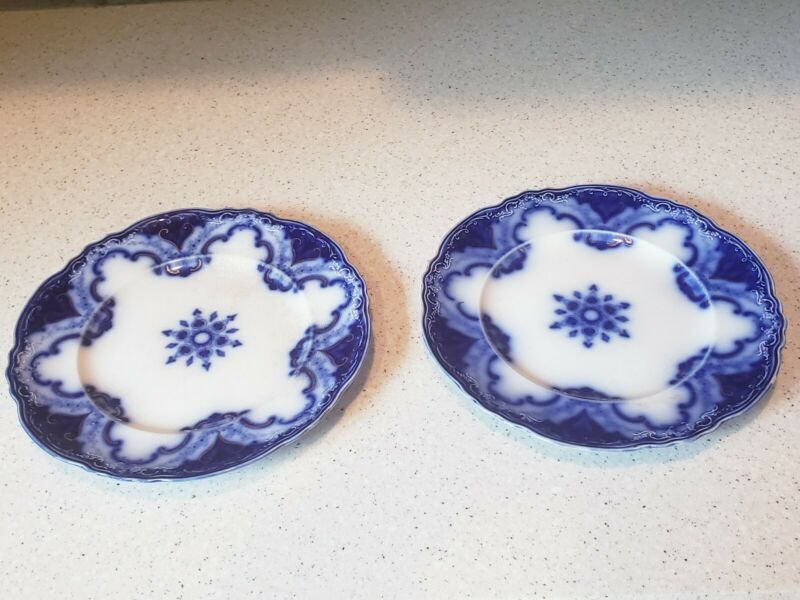 "SET OF 2 ANTIQUE ALFRED MEAKIN CAMBRIDGE FLOW BLUE PLATES  8 3/4""."