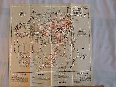 Rare ca. 1936 San Francisco CA Market St. Railway MAP 16X16 Trolley Coach