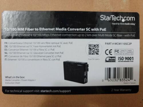 StarTech.com MCM110SC2P 10/100 MM Fiber to Ethernet Media Converter SC with PoE