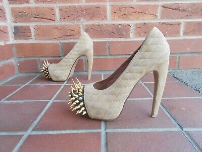 """Sexy JEFFREY CAMPBELL Taupe Suede STUDDED 5.5"""" Stiletto Platform Shoes * s6"""