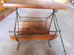 Wood and wrought iron magazine rack Macquarie Links Campbelltown Area Preview