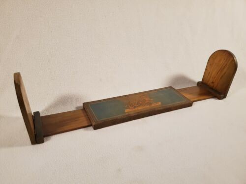 Antique Inlay Wood Slide Expandable Book Rack Holder ~ Cherub Chariot Geese
