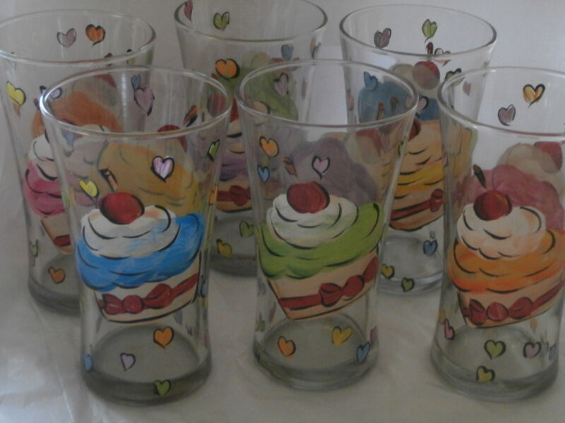 HANDPAINTED ASSORTED CUPCAKES/ICING/CHERRIES SET OF 6 TUMBLERS/ 'WATER GLASS
