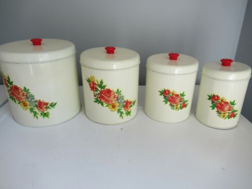 Vintage Tin Canisters - Set of  Four - Flower Design
