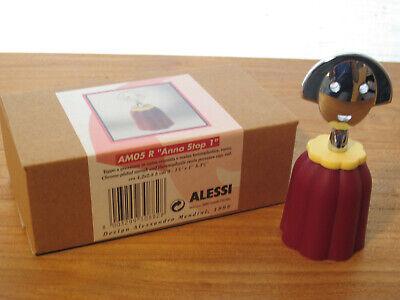 ALESSI *NEW* Bouchon résine Anna Stop bordeaux et chrome 4,2x2,8cm h.10cm AM05R