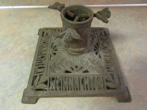 "ANTIQUE GERMAN CAST IRON ""FROHLICHE WEIHNACHTEN"" ""MERRY CHRISTMAS"" TREE STAND"