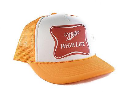 Miller High Life beer Trucker Hat Mesh Hat Snap Back Hat yellow new adjustable