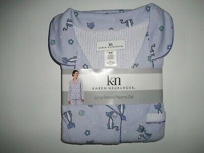KAREN NEUBURGER 2 Pc PAJAMAS SET CAT Pajama Pants & L/S Top Womens MEDIUM NEW