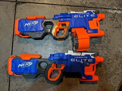 NERF N-strike Elite Hyperfire Blaster With 25 Dart Drum LOT OF 2