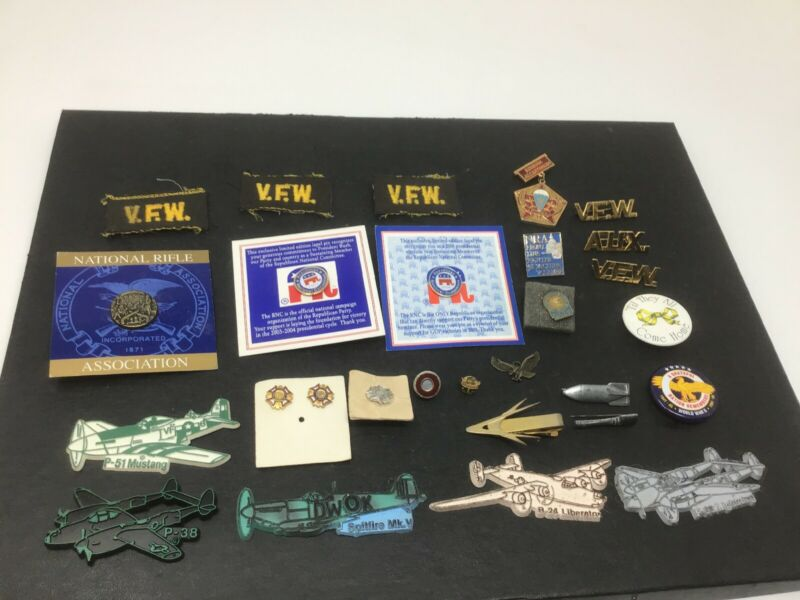 Vintage Military/ Political Pin Lot VFW NRA Republican Party Russian Medal Etc